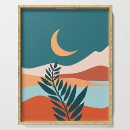 Moonlit Mediterranean / Abstract Landscape Serving Tray