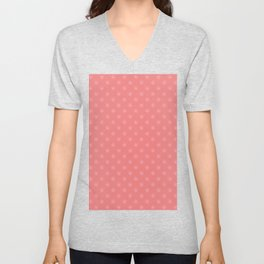 Cotton Candy Pink on Coral Pink Snowflakes Unisex V-Neck