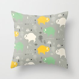 Seamless pattern with cute baby buffaloes and native American symbols, gray Throw Pillow