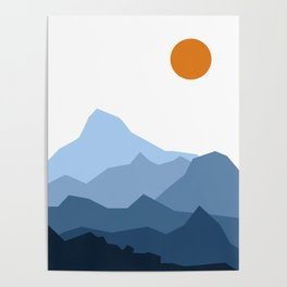 Abstract Blue And Orange Mountain Sunset Landscape Poster