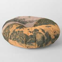 serene volcano Floor Pillow