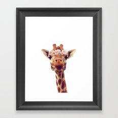Flower crown giraffe Framed Art Print