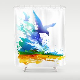 Birds flying. Sea, ocean waves. Gulls, colorful watercolor realistic panting. Blue water.. Shower Curtain