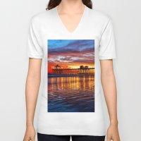 calendars V-neck T-shirts featuring Huntington Beach Sunset   12/2/13 by John Minar Fine Art Photography