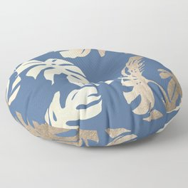 Simply Tropical Palm Leaves White Gold Sands on Aegean Blue Floor Pillow