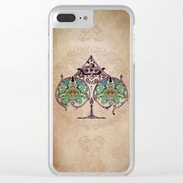 Arabesque Deck of Cards Ace Spades Clear iPhone Case