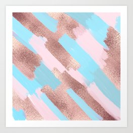 Girly Chic Rose Gold Blue Pink Brushstrokes Paint Art Print