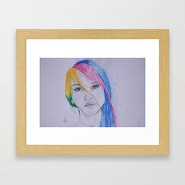 The girl with rainbow hair Framed Art Print