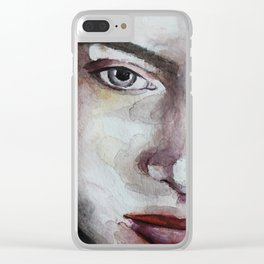 Original watercolor portrait blonde girl with red lips, art Clear iPhone Case