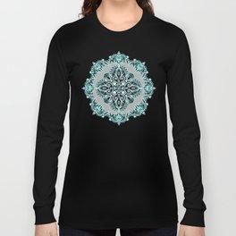 Teal and Aqua Lace Mandala on Grey Long Sleeve T-shirt