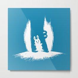 cornered! (bunny and crocodile) Metal Print