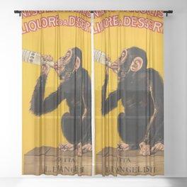 Vintage Anisette Liquor Italian Drinking 'Drunken Monkey' Aperitif Advertisement Poster Sheer Curtain