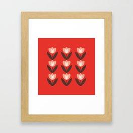 Tulip Field in Red Framed Art Print