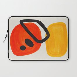 Colorful Mid Century Modern Abstract Fun Shapes Patterns Space Age Orange Yellow Orbit Bubbles Laptop Sleeve