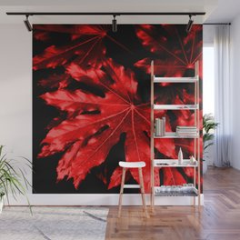 Festive Fatsia - Christmas Red Wall Mural