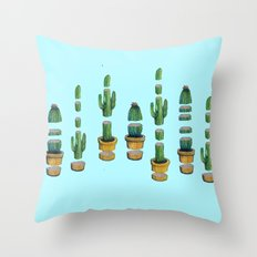 cut cactus on blue Throw Pillow