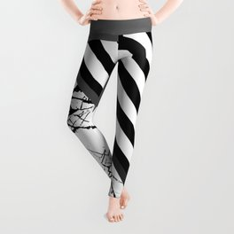 Stripes N Marble 3 - Abstract Black and white stripes and marble textured triangles on metallic Leggings