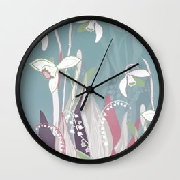 snowdrops & lily of the valley spring pattern drawing Wall Clock