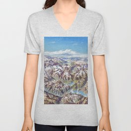 Sky Panorama Map of North Cascade National Park Unisex V-Neck