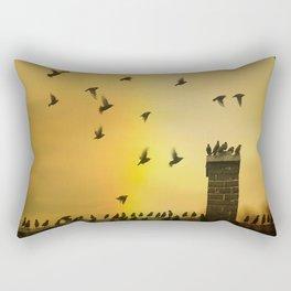 Rooftop Birds Rectangular Pillow
