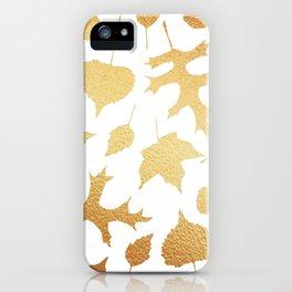 Autumn Elements Pattern (Gold) iPhone Case