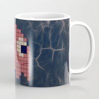 pac man Mugs featuring Pac-Man Pink Ghost by Psocy Shop