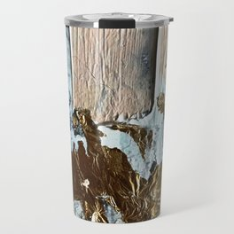 Compelling: a minimal, abstract mixed-media piece in gold, pink, black and white by Alyssa Hamilton Travel Mug