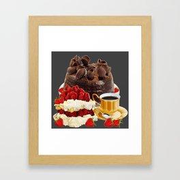 STRAWBERRY & CHOCOLATE CAKE BREAKFAST Framed Art Print