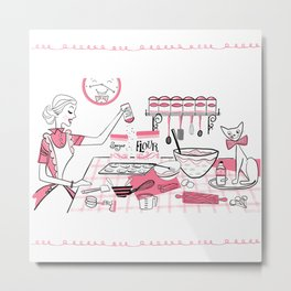 Baking Day Fun With Mister Kitty Metal Print