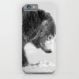 Alaskan Grizzly Bear in Snow, B & W - I iPhone Case