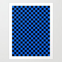 Black and Brandeis Blue Checkerboard Art Print