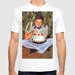 Eating Cake in a Bush with Johnny Cash Portrait Painting by Jeanpaul Ferro T-shirt