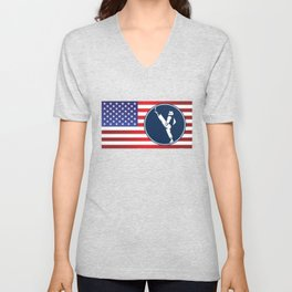 USA Taekwondo American Flag Martial Arts Sports Unisex V-Neck