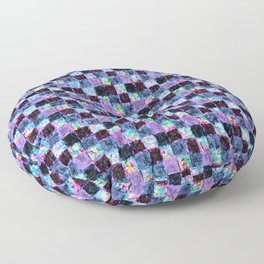 Multicolored Purple and Blue Patchwork Floor Pillow
