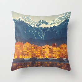 Innsbruck, Austria vintage style travel poster, Austria print, Innsbruck print Throw Pillow
