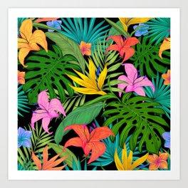 tropical greens leaves Art Print