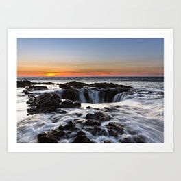 Thor's Well Sunset at Cape Perpetua, Oregon Art Print