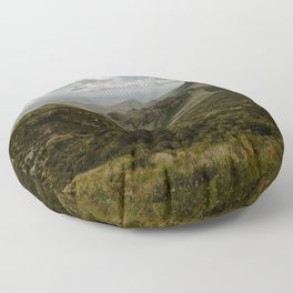 Cloudy Vibrant Mountaintop View in Big Bend - Lost Mine Trail Floor Pillow