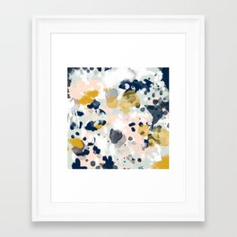 Esther - abstract minimal gold navy painting home decor minimalist hipster art Framed Art Print