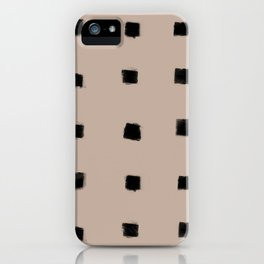 Polka Strokes Gapped - Black on Nude iPhone Case