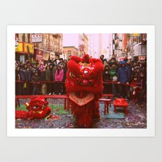Chinese Lion Dance in Chinatown, NYC Art Print