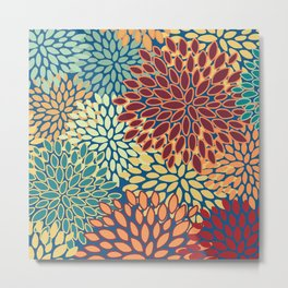 Floral Prints, Red, Teal, Yellow, Orange, Abstract Art, Colourful Prints Metal Print