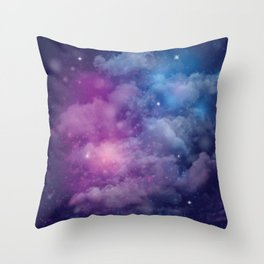 Pink and Blue Nebula Throw Pillow
