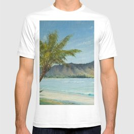 Waikiki Beach at First Sunlight tropical island landscape painting by D. Howard Hitchcock T-shirt