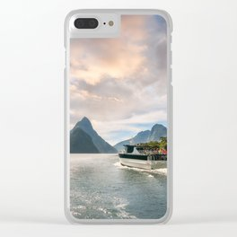A Cruise going into Sunset at Milford Sound Clear iPhone Case