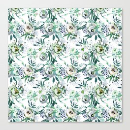 Country white green rustic watercolor floral Canvas Print