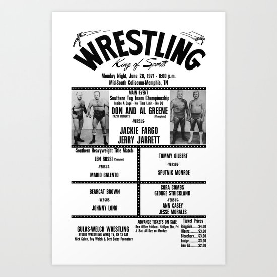 #14 Memphis Wrestling Window Card Art Print