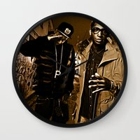wiz khalifa Wall Clocks featuring Wiz & Tempah by D77 The DigArtisT