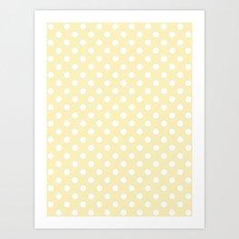 Small Polka Dots - White on Blond Yellow Art Print
