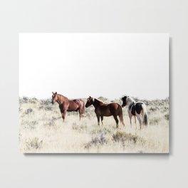 Wild horses print, Scandinavian, Wall Art, Minimal, Modern Metal Print